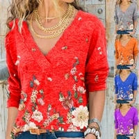 2021 new spring womens t shirts v neck pullover printed autumn long sleeved top t shirt for women oversized t shirt