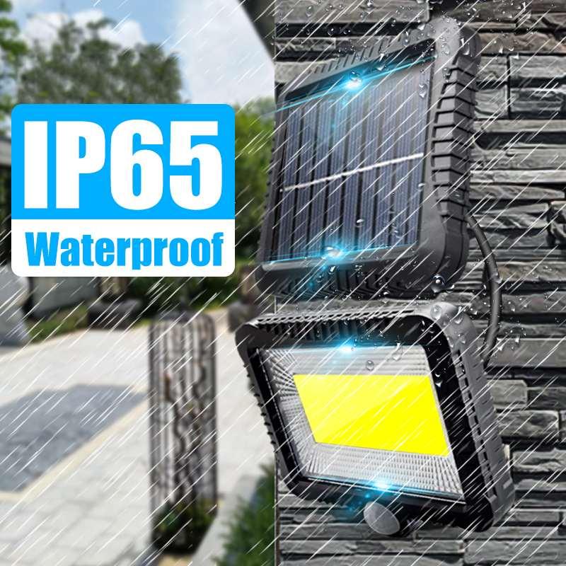 120 luz Solar LED con Sensor de movimiento de Control remoto, proyector de jardín al aire libre, lámpara de pared con energía Solar para patio de calle