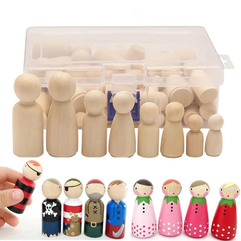 50 шт. Раскрашенные Деревянные фигурки, деревянные колышки для кукол, игрушки, деревянные декоративные поделки, куклы «сделай сам», игрушки д...