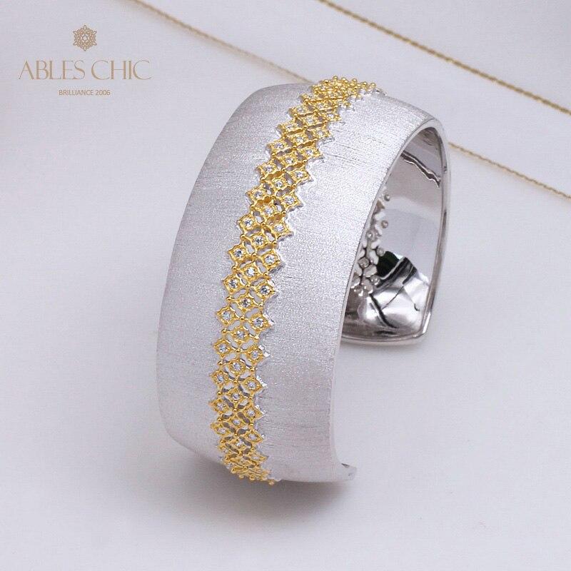 Sterling Silver Bridal Luxury Wedding Wide Cuff Bracelet Silky CZ Paved Handmade Women Renaissance Open Bangle C11B2S25218
