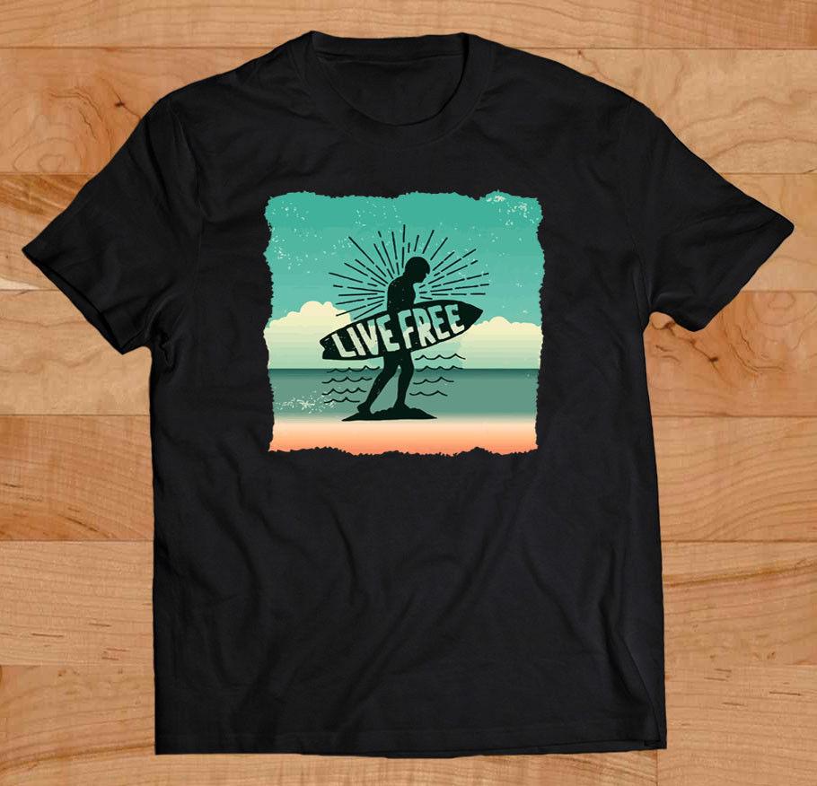 Camiseta de cuello redondo para hombre a la moda de verano 2019 inspiradora Live is Free, camiseta divertida de Surfings, camiseta negra con diseño de puesta de sol para la playa