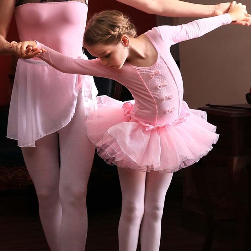Rosa di Cotone Balletto Body a Manica Lunga Dei Bambini Del Capretto Tutu di Balletto Round-Collo Vestito Dal Tutu di Ballo Vestito da Ballo di Balletto