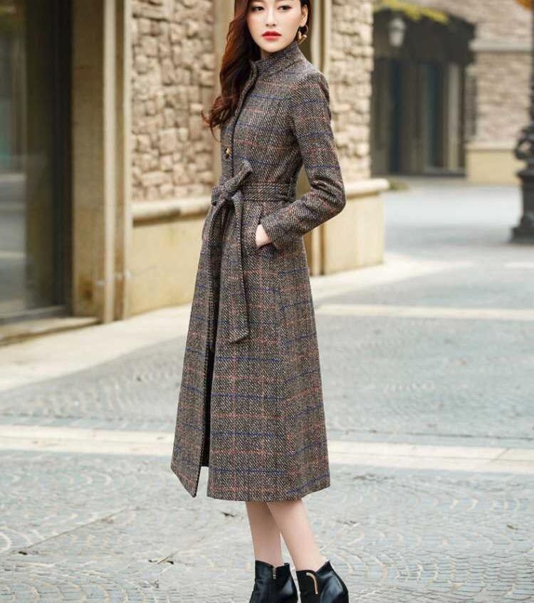 معطف مكتب طويل عالي الجودة 3xl للنساء ، جاكيت بحزام صدر واحد ، معطف فاخر ودافئ من الصوف السميك ol top ، مجموعة الخريف والشتاء