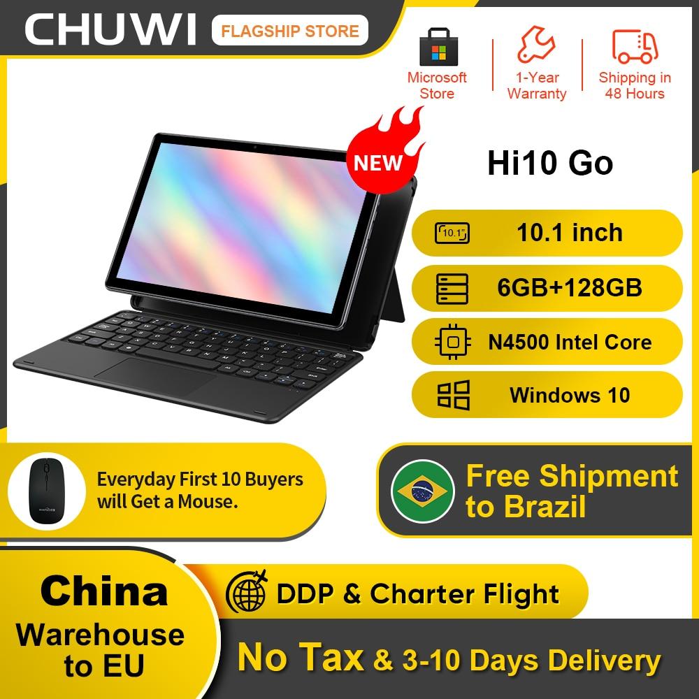 Promo 2021New Tablet, CHUWI Hi10 Go 10.1inch 6GB RAM128GB ROM, FHD 1920×1200 IPS, Intel Celeron N4500, Micro-HD, Windows 10 Tablet PC