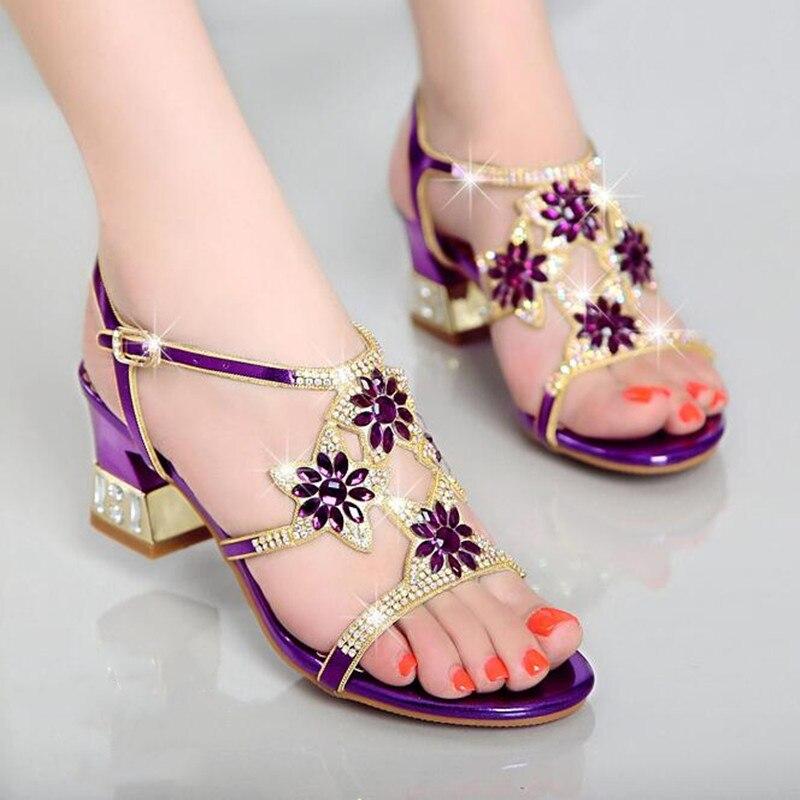 Sandalias de verano con diamantes de imitación para mujer, zapatos de punta abierta, sandalias de mujer de tacón cuadrado, zapatos de gladiador de estilo coreano