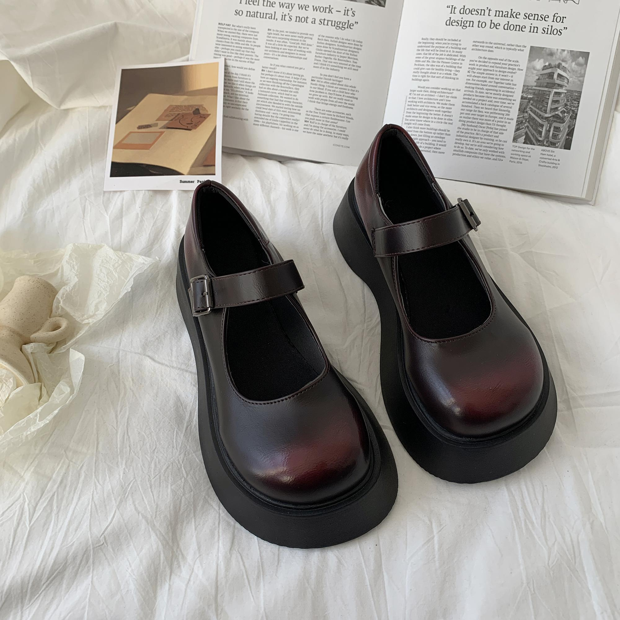 Fashion Mary Jane Women's Shoes One Word Buckle Lolita Shoes Women Versatile Comfortable Sweet Girl Punk Platform Shoes japanese sweet lolita cosplay t strap bowtie mary jane shoes princess girl square heel latin dance shoes