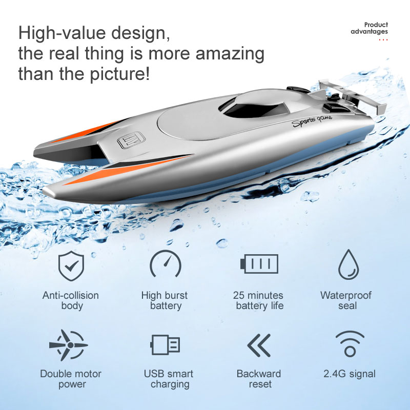 RC Boat 2.4GHz High Speed Boat Yacht Outdoor Competition Boat Long Flight Time Remote Control Boat G