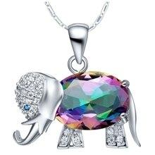 Mystic Rainbow Topaz Gemstone Elephant Pendant Necklace For Women Animal Jewelry Gift Wholesale