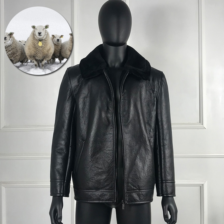 معطف جلد الغنم الحقيقي الفراء الطبيعي سترة الرجال ساعات ذات معصم جلد كلاسيكية معطف الراقية
