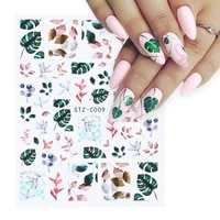 1pc spring nail decal and sticker flower leaf tree green simple summer diy slider for manicuring cute sweet nail art decoration