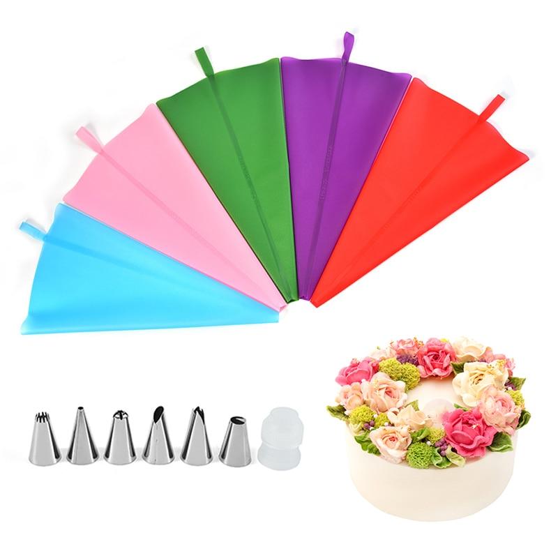Kit de 8 Uds. De bolsa de repostería con boquilla para glaseado de Arit, boquillas para boquilla, equipo de crema de silicona, bolsa para decoración de pasteles y Fondant