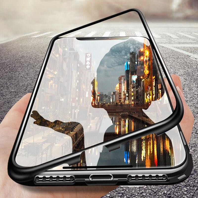 360 magnético para Huawei Y9 Y6 primer 2019 Y9S caso trasera de vidrio de Metal de los casos para Huawei Honor 8X 8S 10 20 Pro 9X China cubierta
