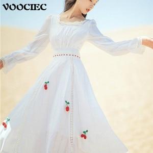 VOOCIEC Spring Autumn Woman Retro Dress French Court Retro Mori Girl Style Long Sleeve Puff Sleeve Cherry Embroidery Dress