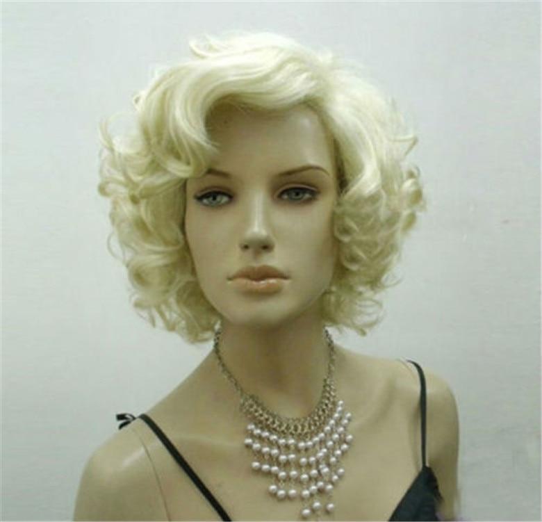 Marilyn Monroe Wigs Women Girls Female Fashion Short Blond Hair Curly Heat Resistant Synthetic Cosplay Wig + Wig Cap