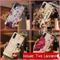 back cover original phone case for wiko view4 soft case lanyard phone holder flower for woman