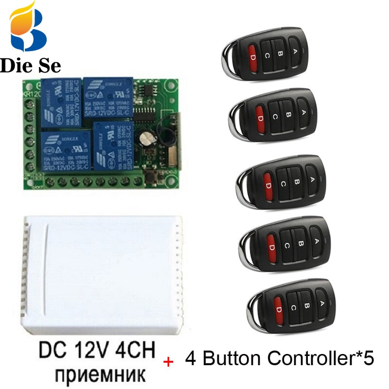 110v220v 12ch rf wireless remote control switch system 2 transmitters and 12 receiver for garage door rf 433mhz 315mhz sku 5451 433MHz Universal Wireless Remote Control DC 12V 4CH Relay Receiver Module RF Switch 4 Button Remote Control Gate Garage opener