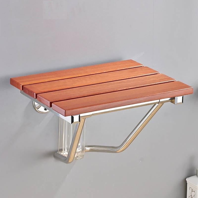 Asiento de ducha plegable de madera maciza y silla de ducha de relajacion montada en la pared