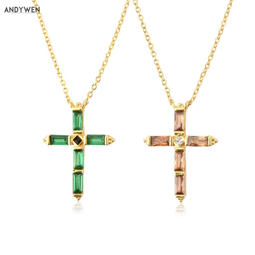 ANDYWEN 925 de plata esterlina colorido Collar de colgante de Cruz de...