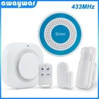 Awaywar-systeme dalarme de securite sans fil 433MHz  sirene PIR detecteur de fumee incendie  pour maison connectee  capteur de mouvement porte