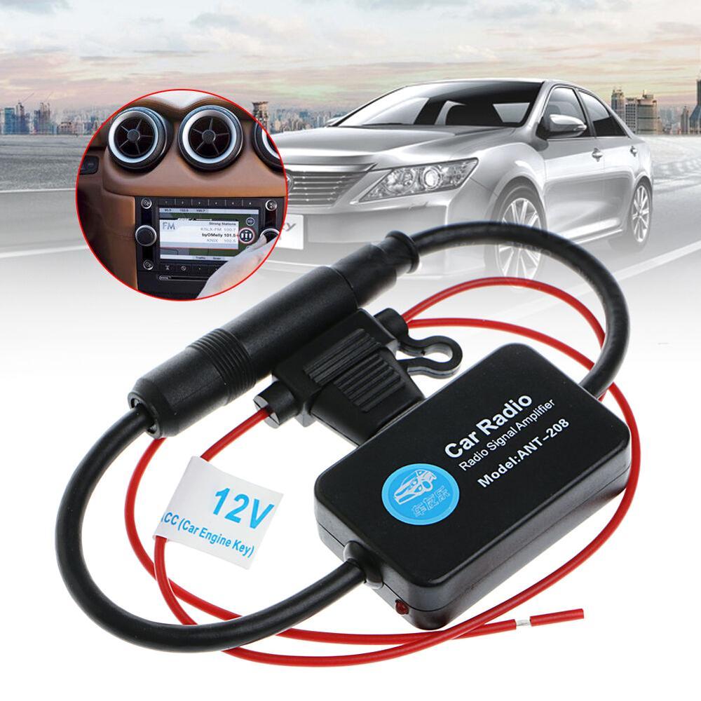 12 В 25 дБ автомобильный FM-радиоантенный усилитель с индикатором модель ANT-208 автомобильный FM-антенный усилитель для автомобиля, автомобиля, л...