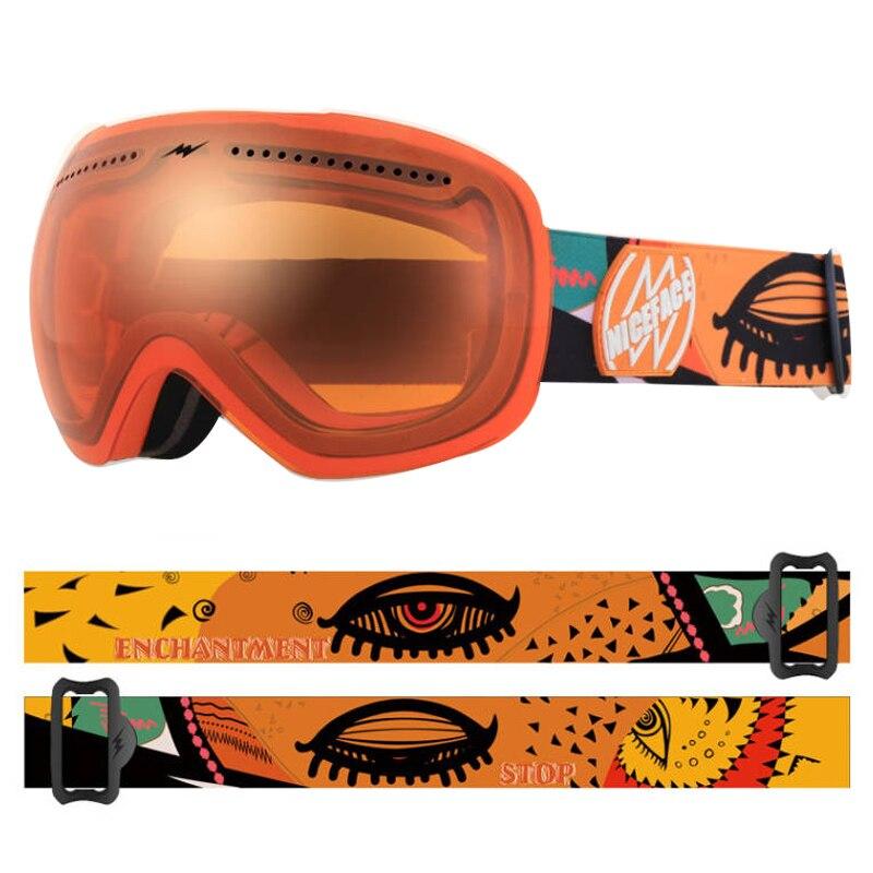 Зимние двухслойные очки Niceface, противотуманные очки, зимние очки, уличные очки для сноуборда, мужские очки для снегохода