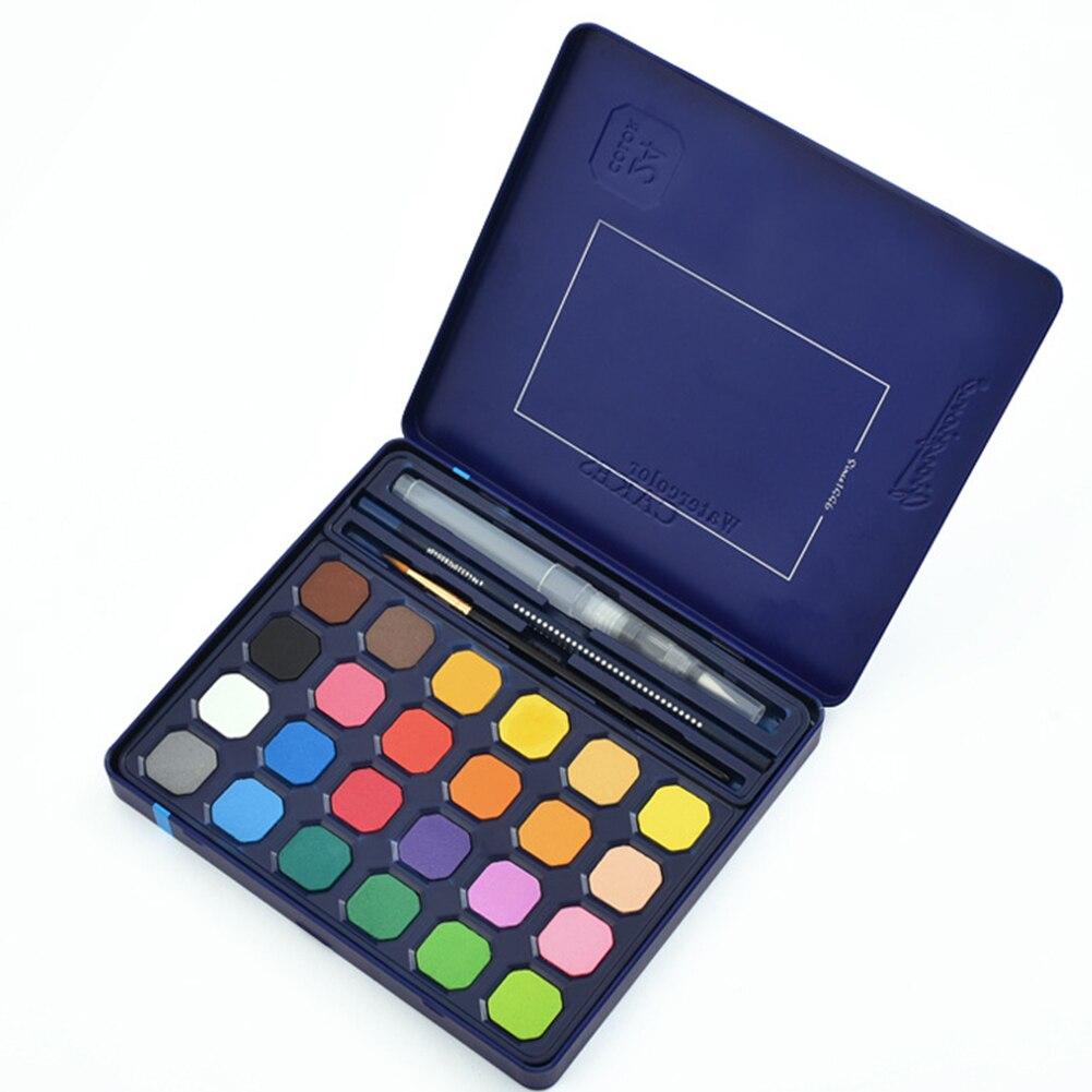 Caja de hierro arte suministros acuarela juego de pintura pigmento sólido portátil DIY no tóxico alta saturabilidad regalo principiante con cepillo