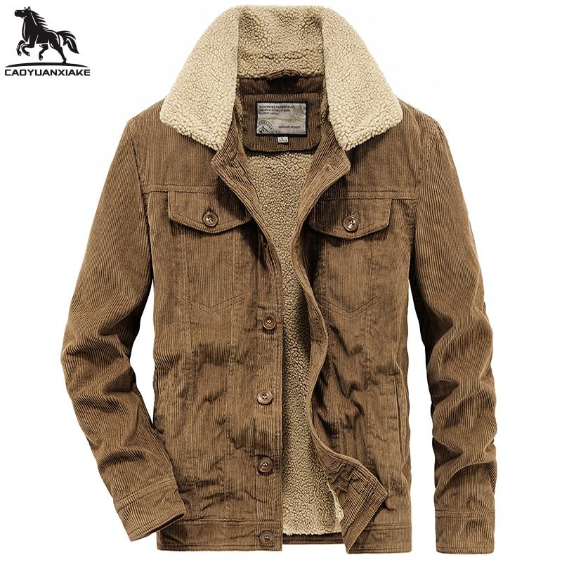 Зимняя Мужская парка, новые мужские куртки, мужские вельветовые плотные вельветовые мужские пальто, деловая Повседневная теплая куртка для...