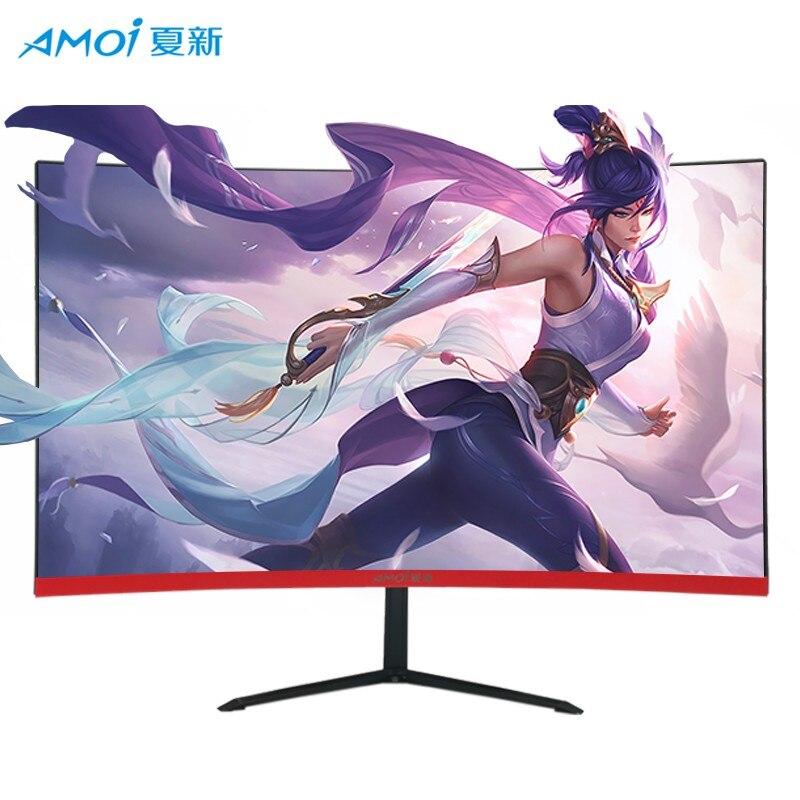 Amoi-شاشة LED منحنية 24 بوصة ، 75 هرتز ، سطح نحيف للغاية ، شاشة عرض LCD لمنافسات الألعاب ، مدخل Hdd كامل ، HDMI/VGA