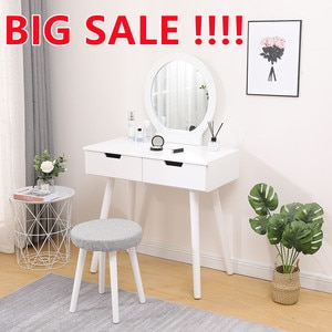 1 Set Dresser Table Mirror With Chair Vanity Table Makeup Stool Wooden 2 Drawers Modern Tocador Mesa Assembly Bedroom HWC