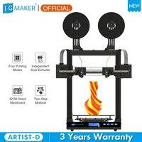 JGMaker Artist-D Updated Pro IDEX Dual Independent Extruder 3D Printer Direct Drive 32bit Motherboard Print Volume 300*300*340mm