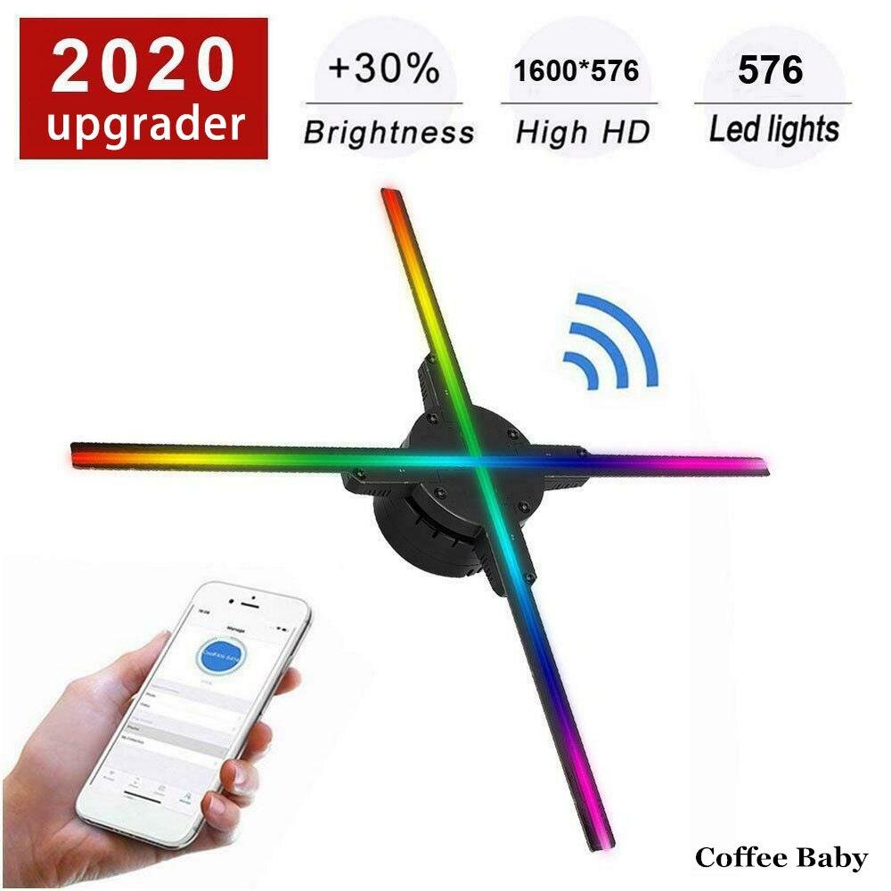 638 LED واي فاي ثلاثية الأبعاد جهاز عرض هولوجرام مروحة التصوير الثلاثية الأبعاد مصباح لاعب ثلاثية الأبعاد عن بعد عرض إعلاني كشاف ضوء مع 16G TF
