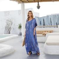 women half sleeve swimsuit cover up sexy v neck tie dye striped print beach maxi dress oversized loose long robe kaftan