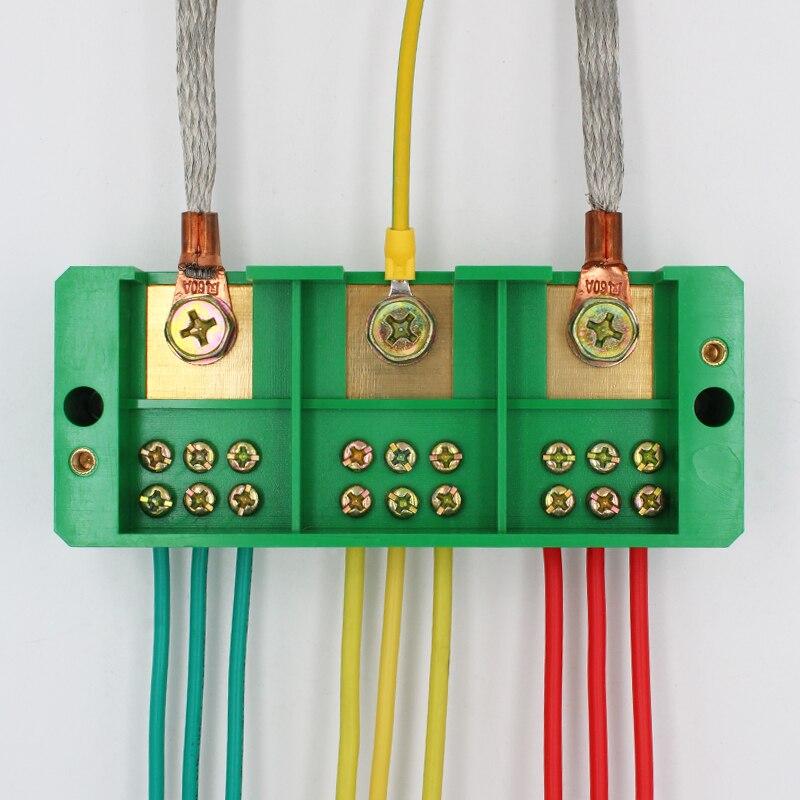 Terminal de filas de tres Fase 3 en 9 caja de distribución caja con cable conector de derivación de tres y nueve