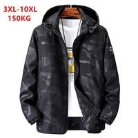 Куртка уличная Мужская, черная, на 150 кг, большие размеры 6XL 7XL 8XL 9XL 10XL, толстовка со съемным капюшоном, камуфляжный, синий, весна-осень