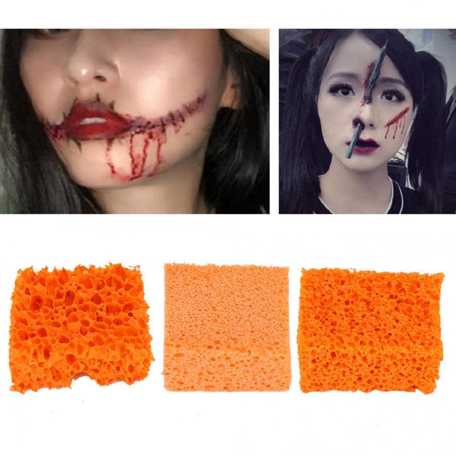 Esponja estofada de borracha para maquiagem, efeito duplo para festival de halloween, natal, cosméticos, maquiagem, puff, 1 peça laranja