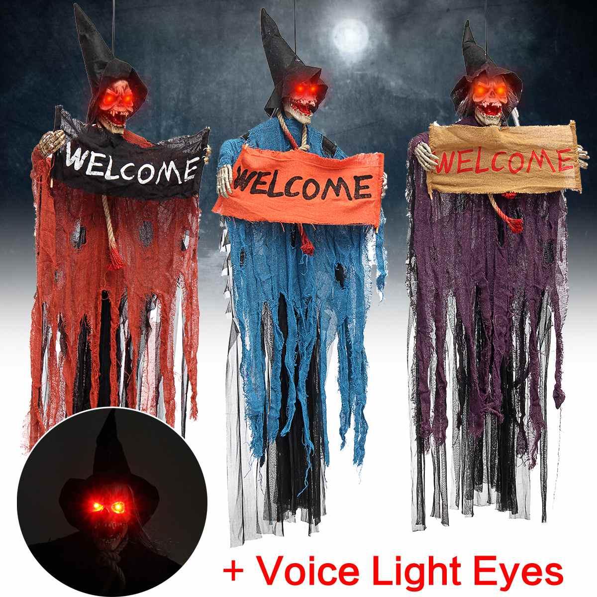Accesorio de Halloween, colgante eléctrico de voz, esqueleto del cráneo fantasma, señal de bienvenida, accesorios de Horror para Escape de Halloween, decoración de Casa Encantada