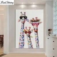 Mosaique de diamant 5d Animal colore girafe une famille avec lunettes  decoration de la maison  broderie de peinture de diamant F1088
