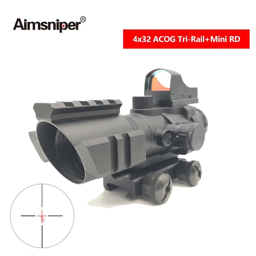 Tactical Hunting 4X32 ACOG Riflescope Illuminated Optics Telescopic Sight With Reflex Mini Red Dot Sight For Rifle Sniper Gun
