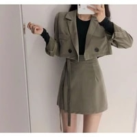 spring 2020 womens short blazer pleated skirt fashion bm temperament office ladies elegant ladies clothes skirt and top set