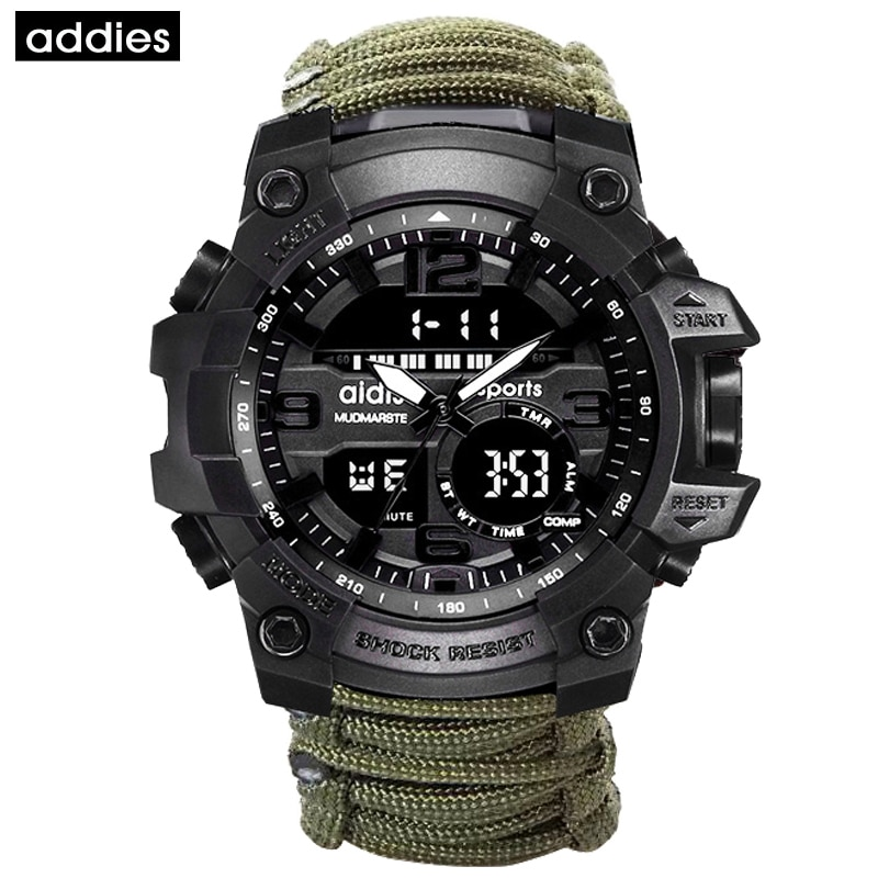 Мужские спортивные часы ADDIES, уличные часы с компасом, топ класса люкс, бренд G Style SHOCK, военные цифровые часы, водонепроницаемые, relogio masculino