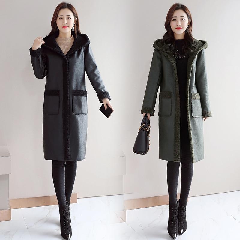 Autumn / Winter 2020 New Women's Fur Coat Medium Length Loose Fur One-Piece Plush Thickening Warm Hooded Windbreaker enlarge