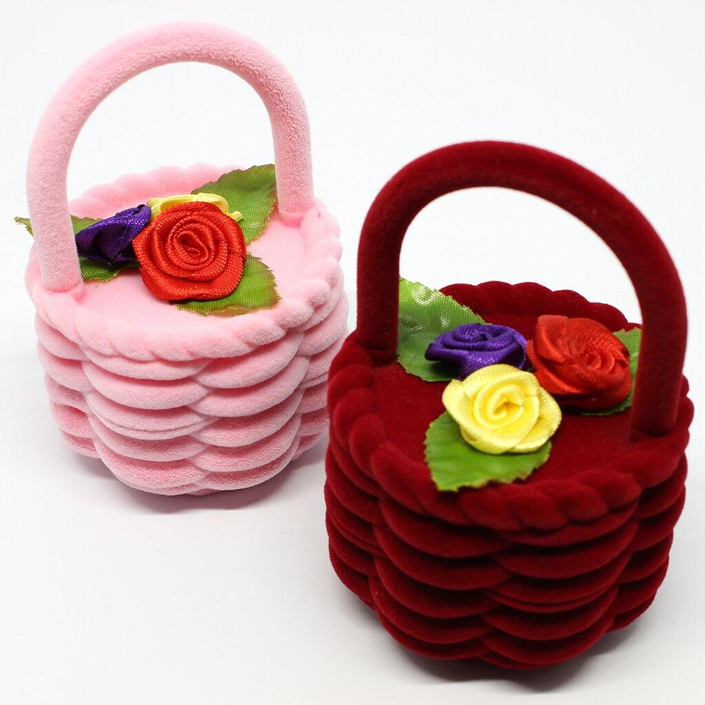 Caja de regalo especial en forma de cesta de flores caja de terciopelo caja de exhibición de joyería