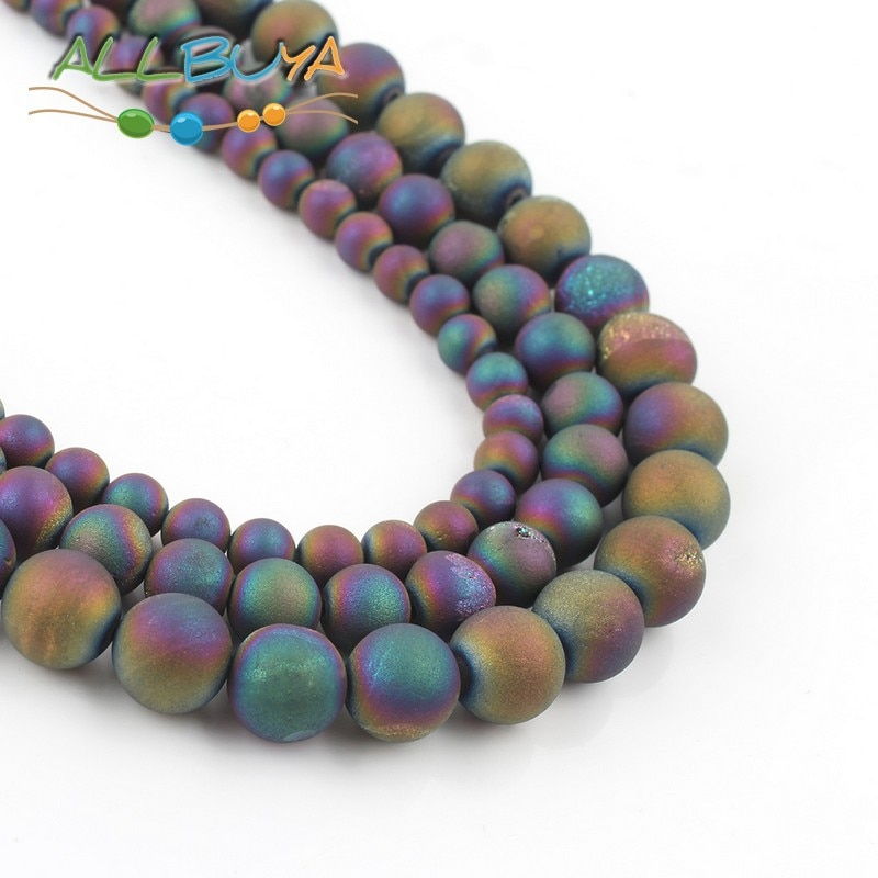 Perles en pierres naturelles multicolores, 6, 8, 10mm, pour la fabrication de bijoux, bracelets, bracelets, Agates, revêtement métallique brut
