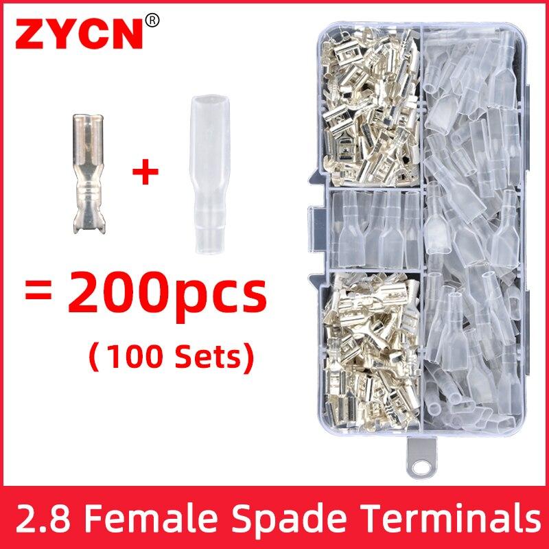 200 Uds 2,8mm 4,8 6,3mm hembra pala coppe Crimp terminales manga eléctrica envoltura de cable conector para 22-16 AWG 0,5-2,5 aislado