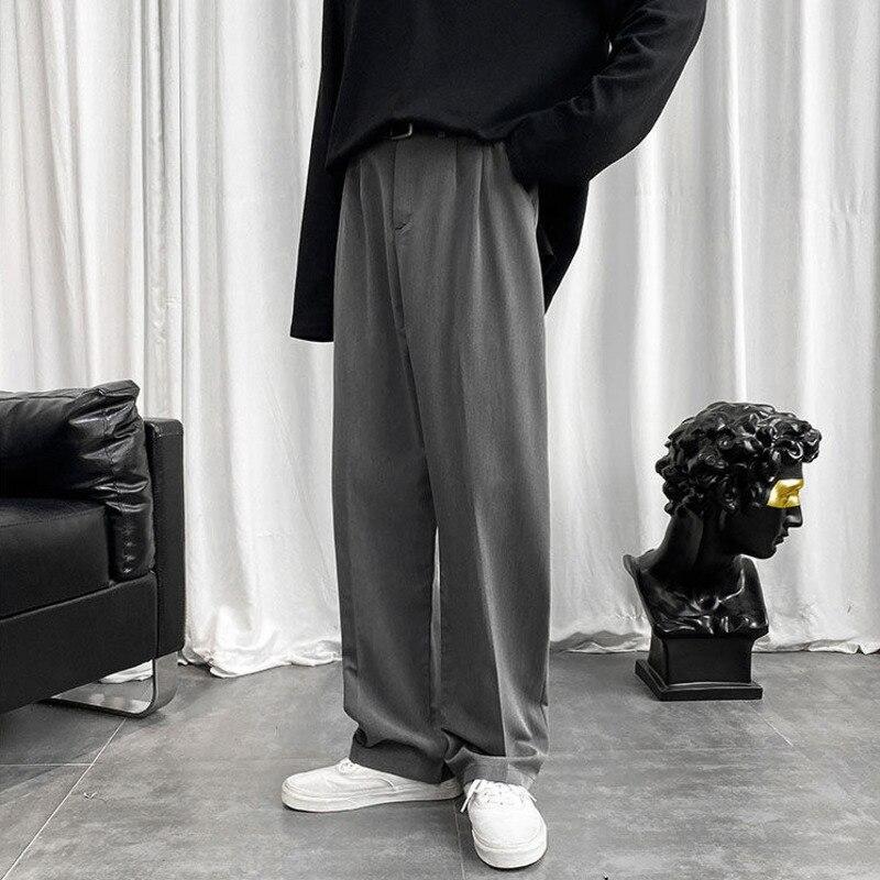 Брюки с широкими штанинами мужские, модные однотонные деловые повседневные штаны, корейские свободные прямые строгие брюки, мужской костюм...