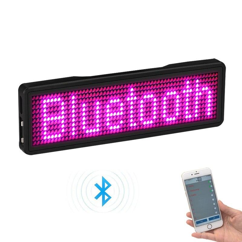 Carcasa LED de 7 colores y 9 colores con imán y pin para eventos, cafetería, restaurante, expo show, Insignia con nombre LED programable por Bluetooth