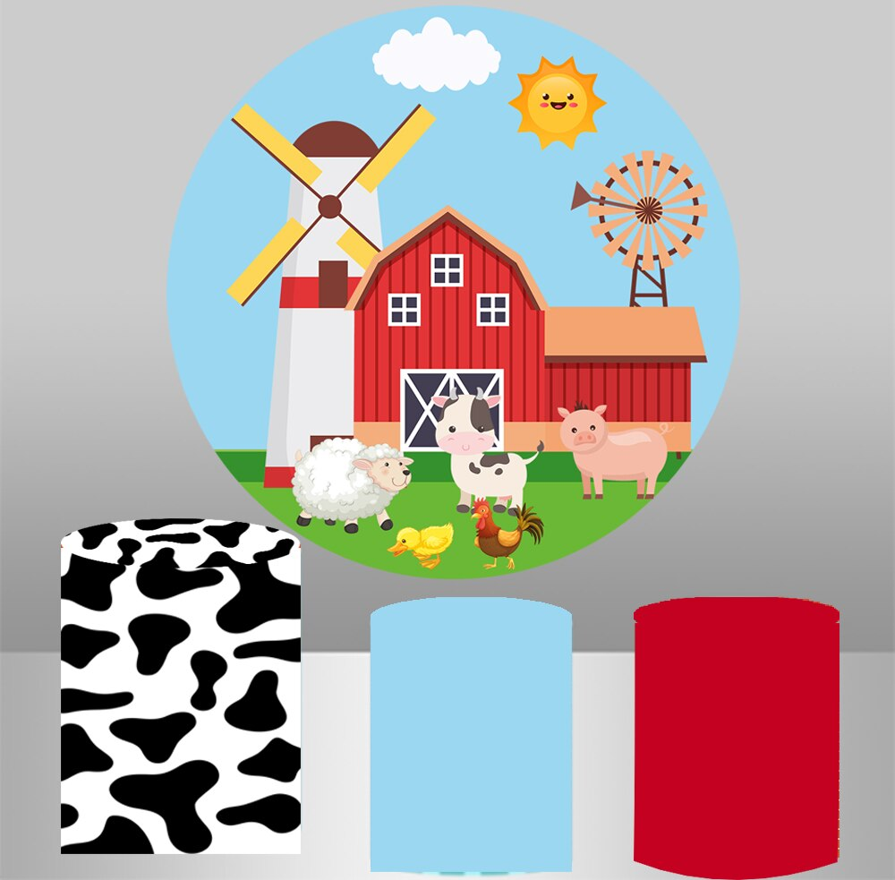 Fondo redondo con temática de granja de dibujos animados, fondo circular para baby shower, decoración de animales para niños, decoración de fiesta de cumpleaños, mantel con cubierta YY-390
