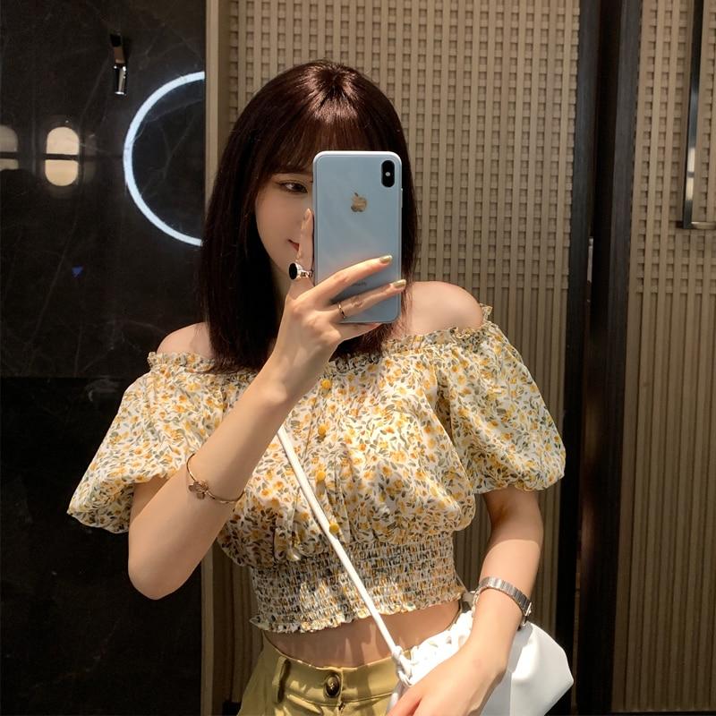 ¡NOVEDAD DE VERANO 2020! Camisas de moda para mujer de MISHOW, blusas de manga corta con cuello oblicuo, camisetas sexis Vintage para mujer, ropa MX20B4317