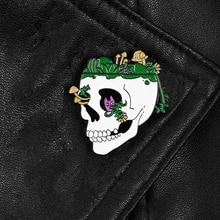 Punk skull pelo verde esmalte pines planta-cultivada esqueleto insignias broches dibujos animados gato solapa pin chaquetas bolsa sombrero hueso joyas regalos