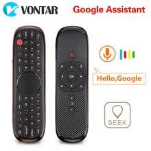 Voix télécommande 2.4G sans fil clavier Air souris W2 Pro IR apprentissage Microphone Gyroscope pour Android TV Box H96 MAX X88 Pro